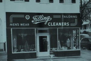 Fillings Store Front BW Retro 50s